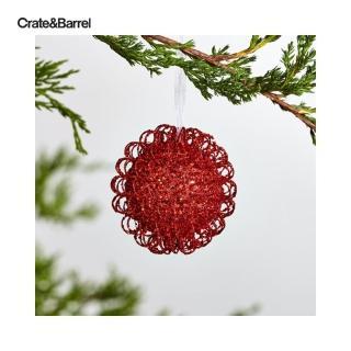 【Crate&Barrel】子Glitter璀璨金蔥球型吊飾紅S(8230688)/