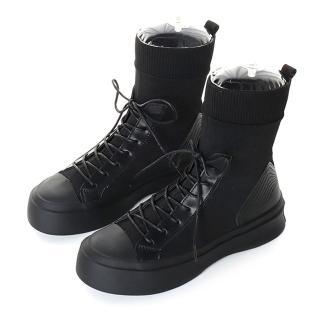 【HIKOREA】韓國來台/版型偏小。美腿經典襪套綁帶厚底軍靴(71-3185黑/現貨)