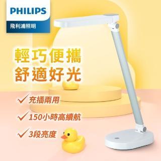 【Philips 飛利浦】酷玉 66145 LED可攜式充電檯燈-雪晶白(PD028)