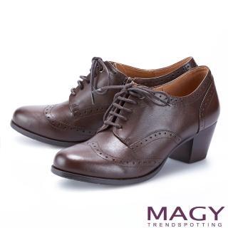 【MAGY】經典花邊綁帶真皮中跟 女 牛津鞋(咖啡)