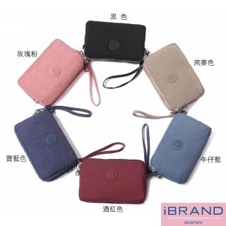 【i Brand】輕盈防潑水尼龍三層手提斜側背包(多色任選)