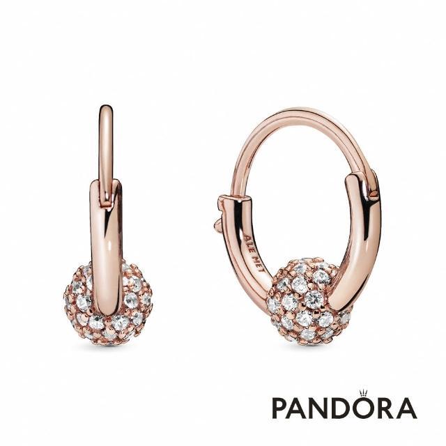 【Pandora官方直營】密鑲寶石圓珠耳環圈/