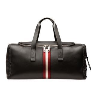 【BALLY】黑色BALLY邊條牛皮旅行包(旅行包)/