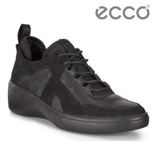 【ecco】SOFT 7 WEDGE W 時尚運動風厚底增高休閒鞋 女鞋(黑色 47092351052)