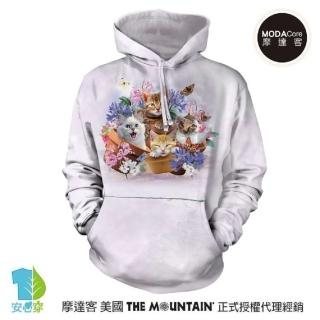【摩達客】美國The Mountain 花園貓咪哦耶 環保藝術長袖連帽T恤(預購)