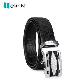 【Sarlisi】真皮珍珠魚皮皮帶自動扣腰帶男士正品高檔褲帶