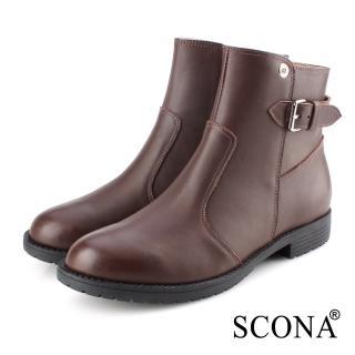 【SCONA 蘇格南】全真皮 時尚簡約側扣短靴(咖啡色 8801-2)