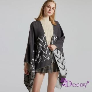 【Decoy】知性幾何*雙色加大保暖斗篷式披肩/深灰
