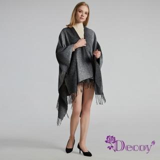 【Decoy】流沙漸變*流蘇加大保暖斗篷式披肩/黑灰