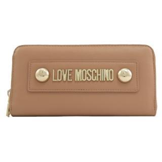 【MOSCHINO】LOVE MOSCHINO 鉚釘LOGO拉鍊發財長夾(卡其)