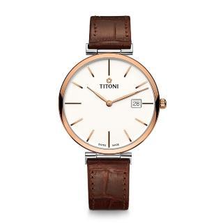 【TITONI 梅花錶】纖薄系列機械錶 白面皮帶 39mm(82718 SRG-ST-606)
