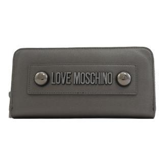 【MOSCHINO】LOVE MOSCHINO 鉚釘LOGO拉鍊發財長夾(深灰)