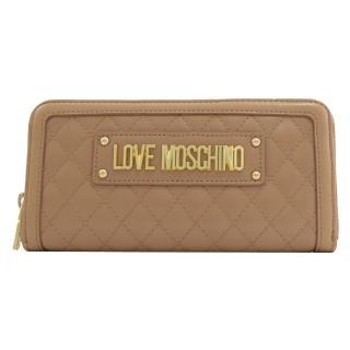 【MOSCHINO】LOVE MOSCHINO 菱格紋鉚釘拉鍊發財長夾(卡其)