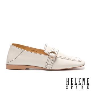 【HELENE SPARK】復古知性全真皮樂福方頭低跟鞋(白)