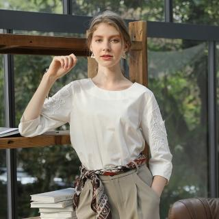 YASA輕熟優雅100%純棉蕾絲上衣4入