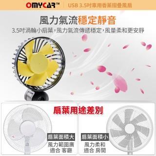 【OMyCar】USB香薰摺疊渦輪車載風扇-快(三段風速 後座風扇 頭枕風扇 椅背風扇 車載)