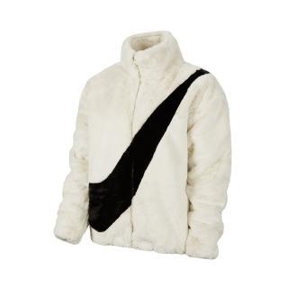 【NIKE 耐吉】外套 NSW Faux Fur Jacket 女款 休閒 羔羊外套 絨毛 穿搭 流行 白 黑(CU6559-238)