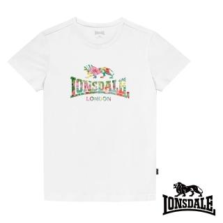 【LONSDALE 英國小獅】夏日扶桑花LOGO短袖T恤(白色LT002)