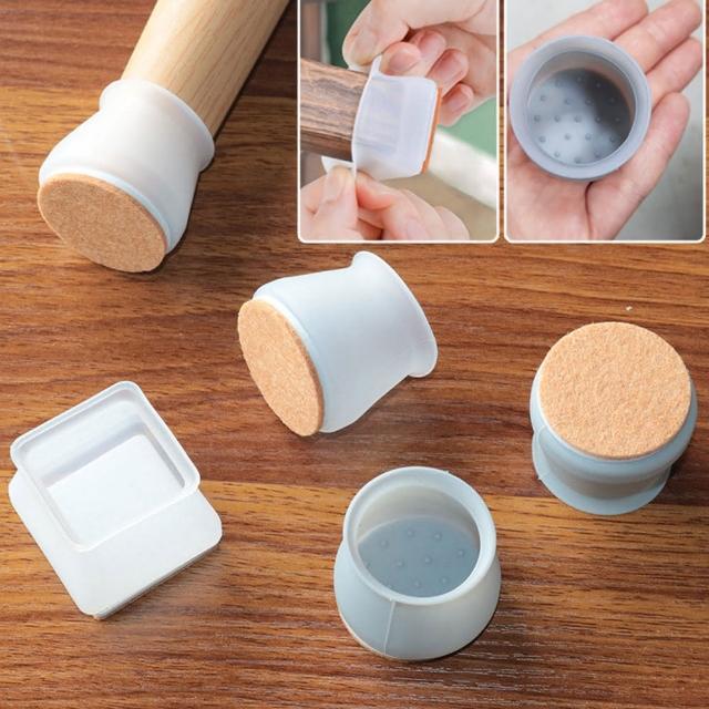 【EZlife】矽膠桌椅腳防滑靜音毛氈保護套(12顆組)/