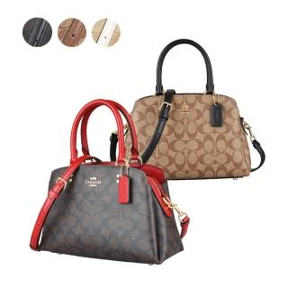 【COACH】COACH LILLIE CARRYALL CANVAS 金字馬車LOGO PVC拉鍊手提斜背包(多色)