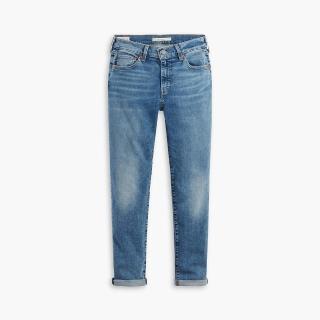 【LEVIS】男友褲 中腰寬鬆版牛仔褲 / 義大利CANDIANI頂級丹寧 / 中藍刷白 / 及踝款