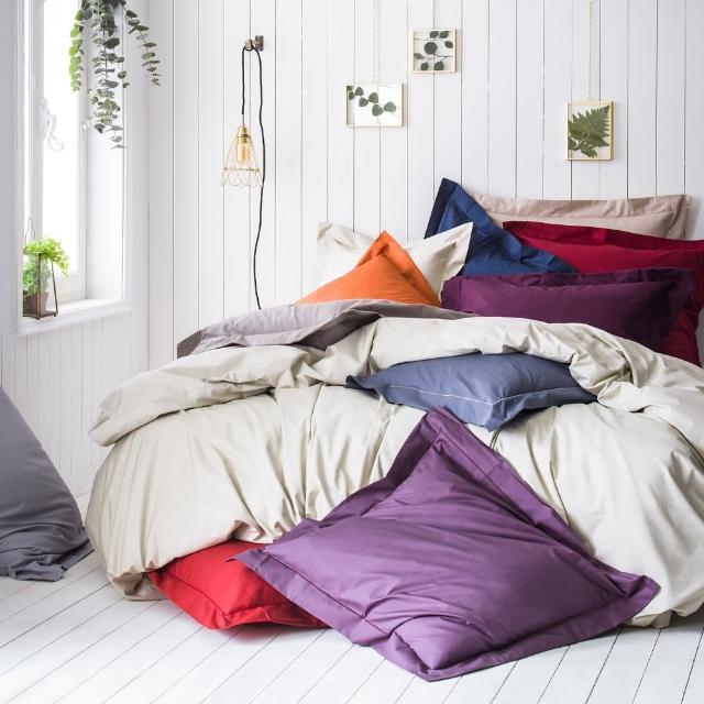 【ESSIX】100%長纖棉素色床包-科爾馬系列(雙加180x186cm)/