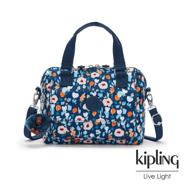 【KIPLING】沉穩素面藍前袋拉鍊後背包-CHUWY/