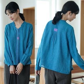 【設計所在】21支色織亞麻手工風琴褶撞色藍色襯衫V領上衣