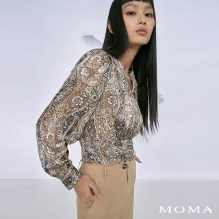 【MOMA】輕奢印花抽繩上衣(卡其)/