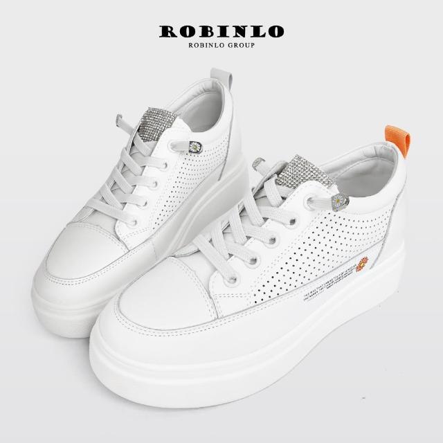 【Robinlo】超美質感水鑽小雛菊真皮厚底小白鞋ATIA(綠/橘色)/