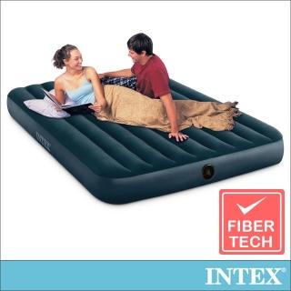 【INTEX】經典雙人加大fiber-tech充氣床墊_綠絨-寬152cm(64109)