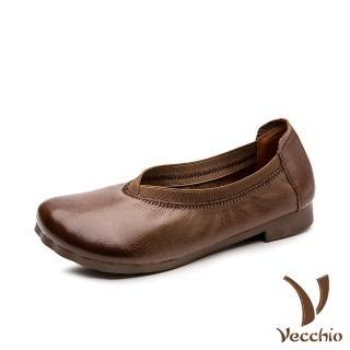 【Vecchio】真皮頭層牛皮舒適寬楦軟底淺口低跟便鞋(棕)/