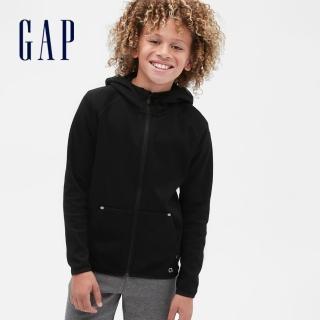 【GAP】男童 簡約插肩袖運動連帽外套(541099-黑色)