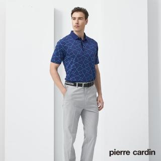 【pierre cardin 皮爾卡登】男裝  四合一冰涼印花短袖polo衫上衣-深藍色(5187211-37)