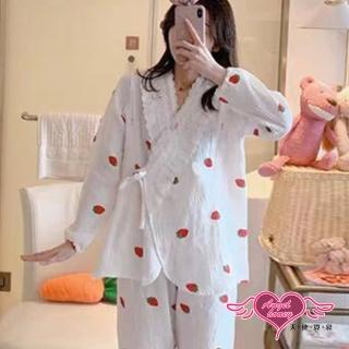 【Angel 天使霓裳】哺乳衣 草莓甜心 棉質長袖孕婦裝月子服 舒適居家服睡衣(白F)