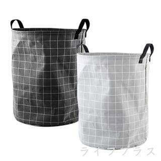 【UdiLife】平帆系/格紋圓形洗衣籃-1入/