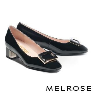 【MELROSE】經典時髦鏡面烤漆方釦透明粗低跟鞋(黑)/