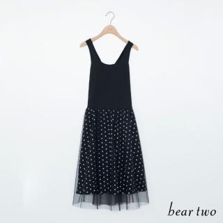 【bear two】圓點交叉背心裙(黑色)