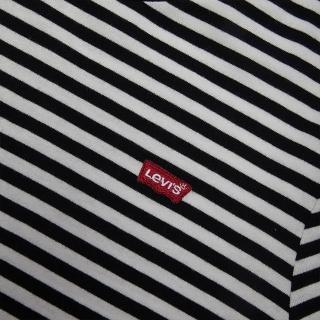【LEVIS】女款 短袖T恤 / 精工迷你Logo刺繡布章 / 簡約條紋-人氣新品