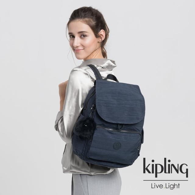 【KIPLING】深藍素面拉鍊掀蓋後背包-CITY