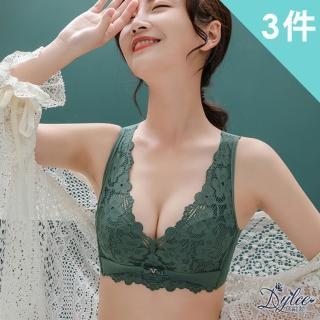 【Dylce 黛歐絲】幸運草蕾絲調整型無痕裸感乳膠無鋼圈內衣(超值3件組-隨機)