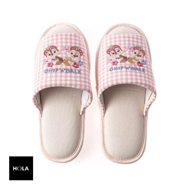 【HOLA】迪士尼系列粉萌季刺繡拖鞋-奇奇蒂蒂