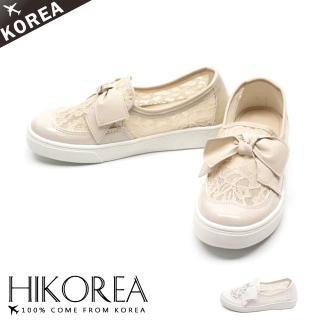 【HIKOREA】正韓製/版型偏小。巴洛克風格蝴蝶結蕾絲透膚懶人鞋/韓國空運(71-3142二色/現貨+預購)
