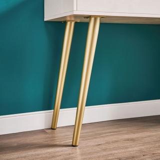 【hoi! 好好生活】林氏木業時尚輕奢LED附鏡金屬腳可伸縮0.8M化妝桌組JF2C-A 白色+金色