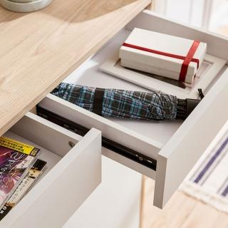 【hoi! 好好生活】林氏木業北歐小戶型雙門對開雙抽鞋櫃 JF2N-A 原木色+荷花白