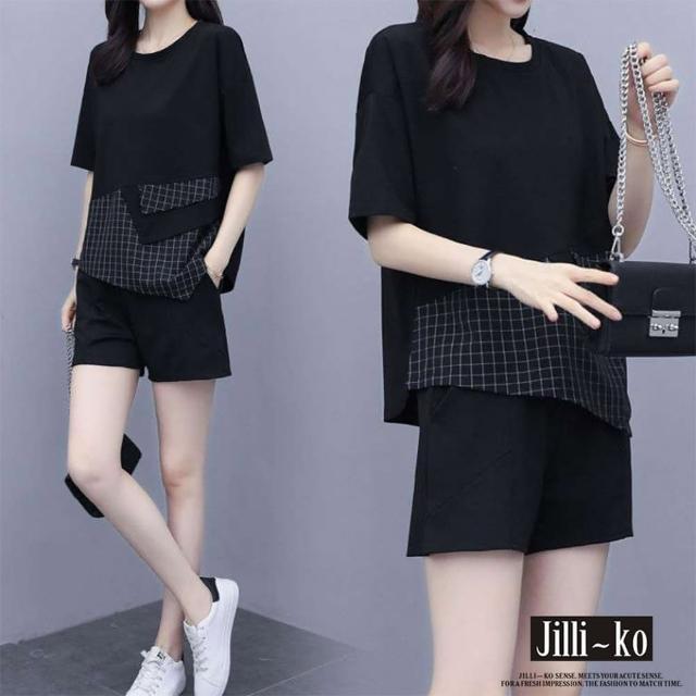 【JILLI-KO】兩件套不規則拼接休閒套裝-M/L/XL(黑)/