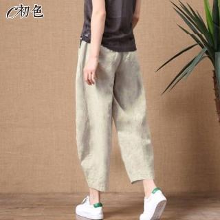 【初色】復古文藝百搭休閒褲-共6色-98791(M-2XL可選/現貨+預購)
