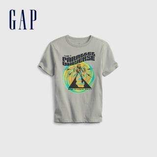 【GAP】男童 潮酷純棉印花短袖T恤(683400-銀灰色)