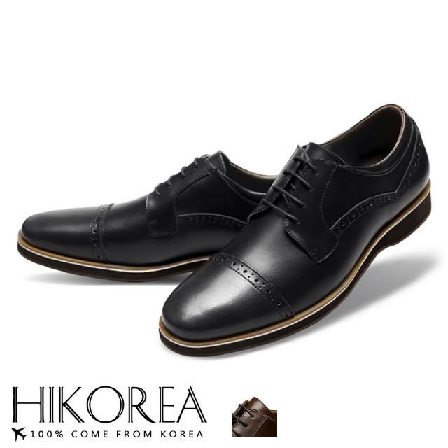 【HIKOREA】韓國空運/版型正常。男款拼接皮革德比雕花裝飾紳士皮鞋(73-411共2色/現貨+預購)/