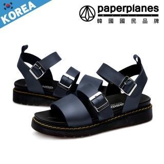 【Paperplanes】正韓空運。亮面質感一字金屬皮革釦帶顯瘦涼鞋(7-233四色/現+預)